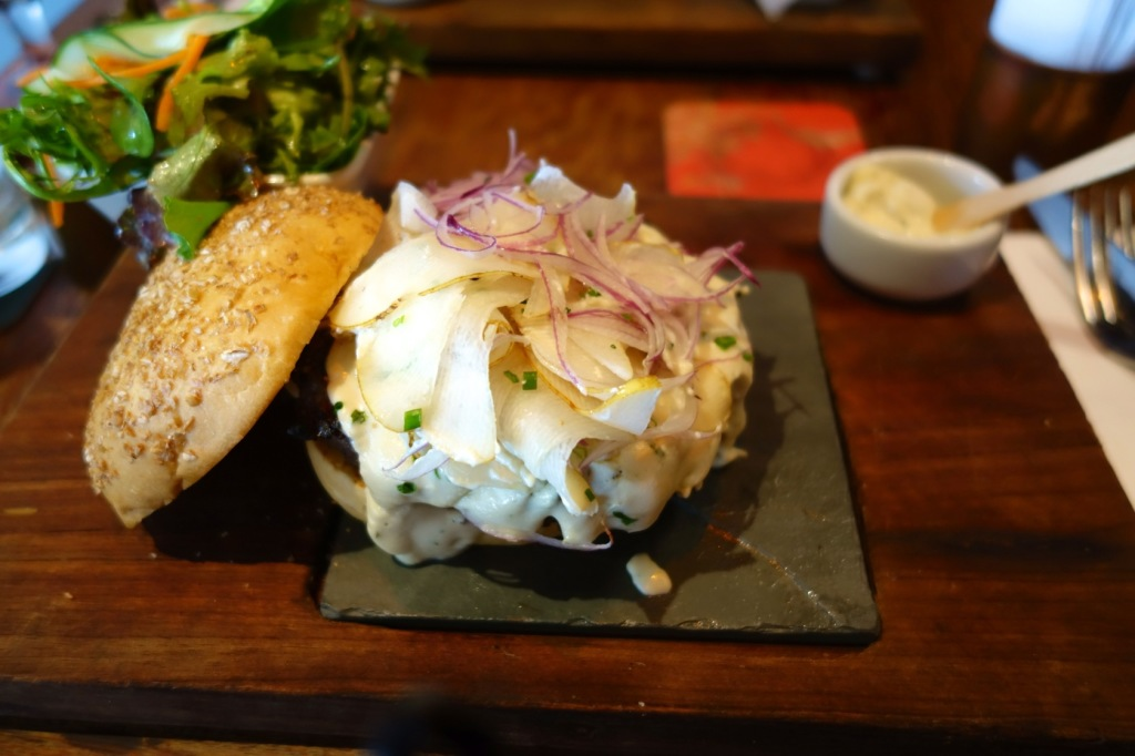 Blue Cheese and Pear Burger